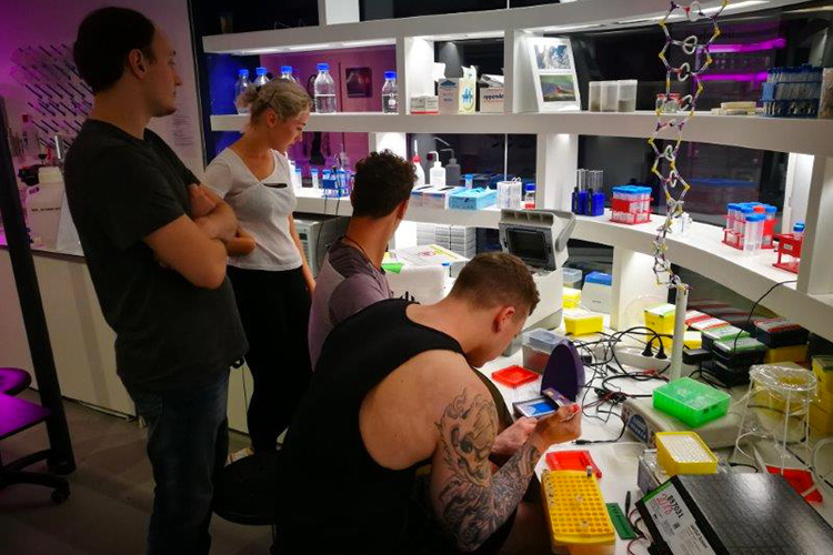 """Glowing Plant"" workshop - Agrobacterium mediated plant transformation - with Andreas Stürmer at the Ars Electronica Center in Linz 2018, photo: Günter Seyfried."