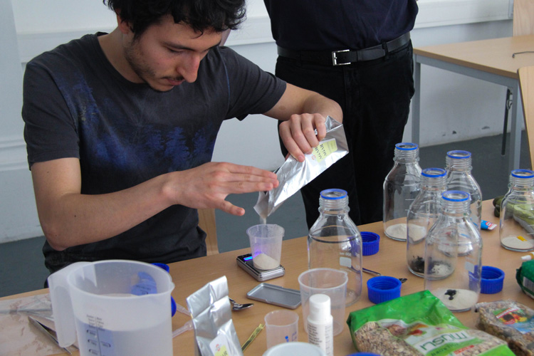 Open Lab class slime moulds workshop with Günter Seyfried in April 2018, photo: Hannah Neckel.